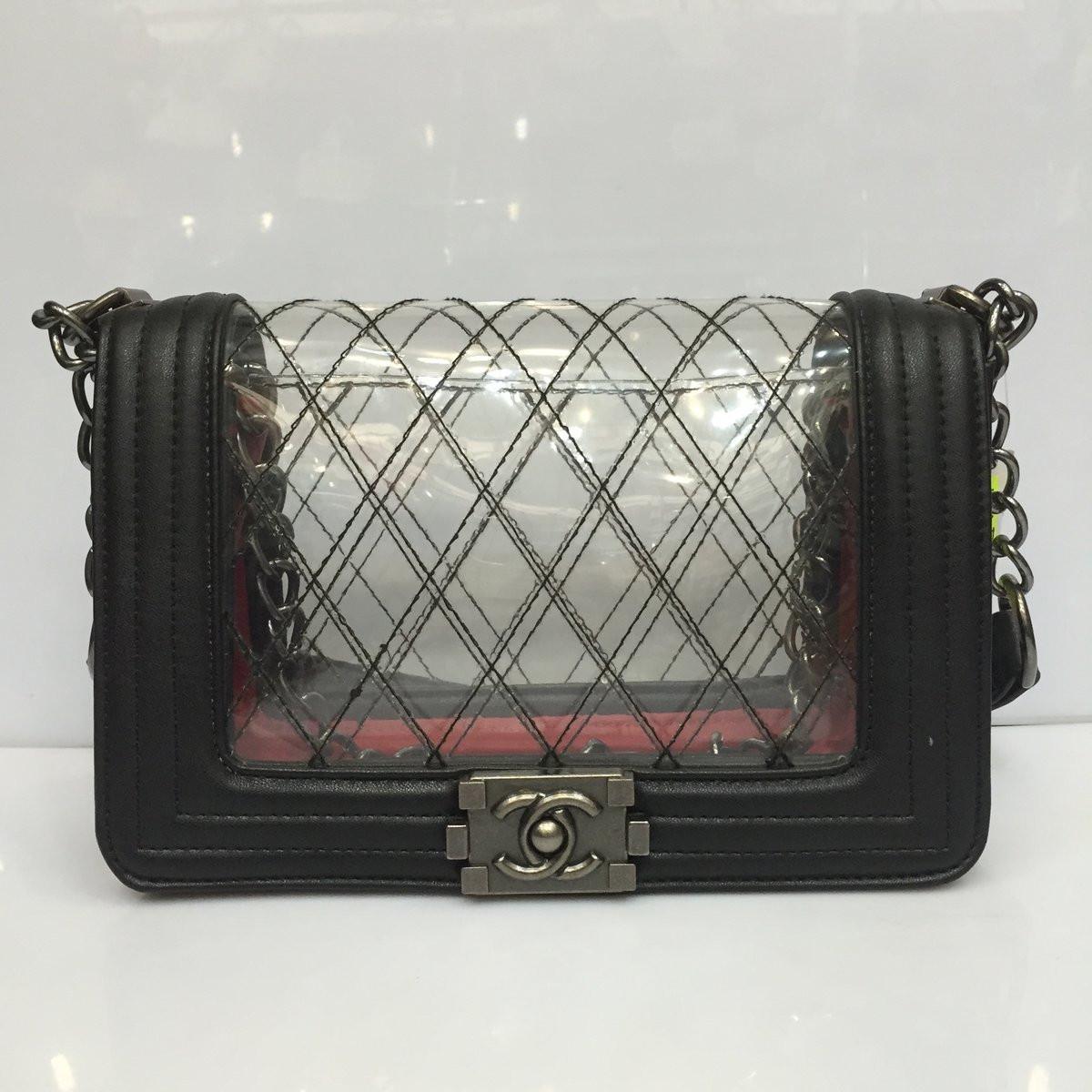 Женская сумка клатч Chanel Boy (Шанель Бой) 1135 черная с силиконовой  вставкой - Shoppingood 242ace7049c