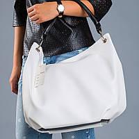 Женская мягкая сумка мешок белая №1360wn3