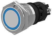 Кнопка металлическая без фиксации, с подсветкой 24VDC, под винт