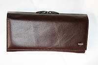 Стильный кожаный кошелек темно коричневый HASSION