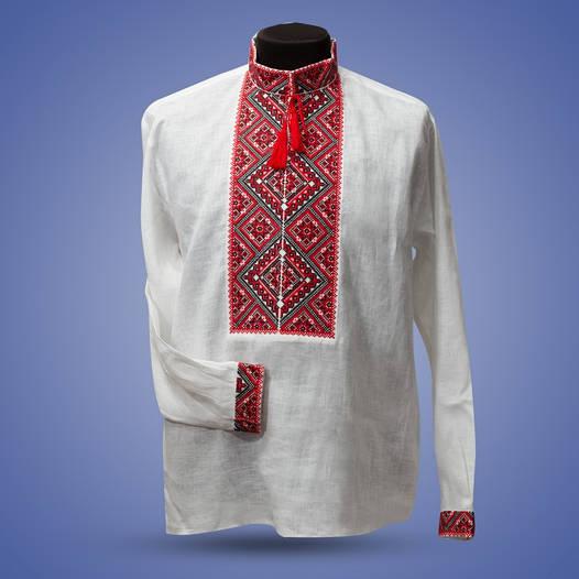 Мужская сорочка вышиванка из серого льна