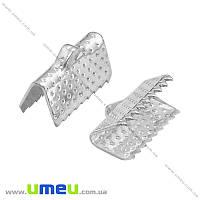 Зажим для лент, 13х7х5 мм, Светлое серебро, 1 шт (ZAG-014797)