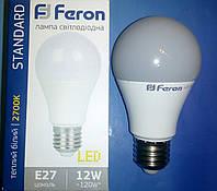 Светодиодная лампа типа А60 Feron LB712 12W 2700K  для общего и декоративного освещения , фото 1