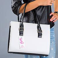 Белая деловая сумка женская - черные вставки
