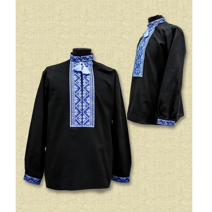 Мужская черная сорочка с голубой вышивкой - Чугайстер