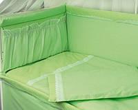 Ограждение защитное в детскую кровать с кружевом и приборником