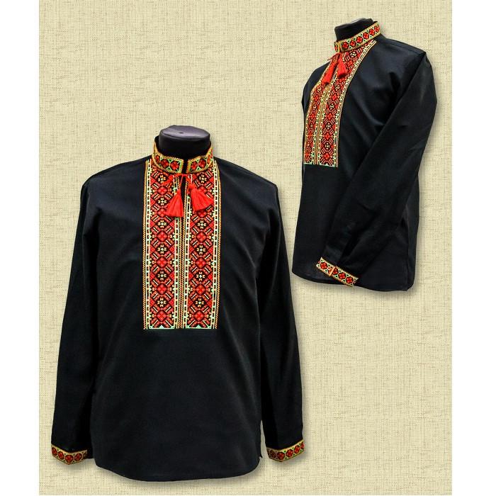 Мужская яркая сорочка вышиванка - Багрянець