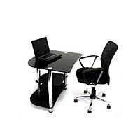 Компьютерный стол из черного стекла Вадс