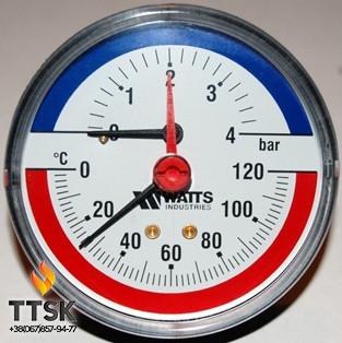 """Термоманометр аксиальный TIM 80 1/2"""", 0-6бар, 120 гр Watts"""