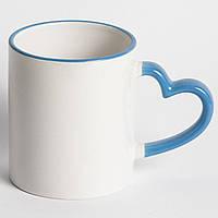 Чашка сублимационная цветной ободок LOVE Голубая