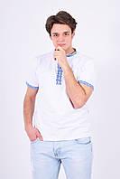 """Праздничная мужская футболка вышиванка из мягкого трикотажа в белом цвете """"Скиф"""""""