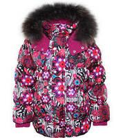 Куртки куртка зимняя пуховик, натуральный мех, набивной рисунок дев. малиновый,черный, красный,фиолетовый 100