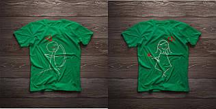 Парні футболочки ручного розпису «Лук та стріли»