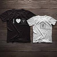 Парні футболочки ручного розпису «I love U»