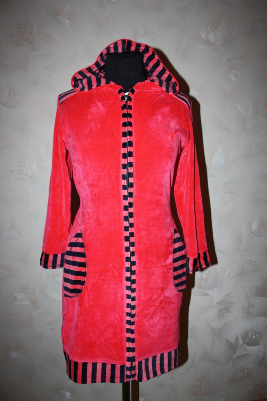 Велюровый халат с вставками