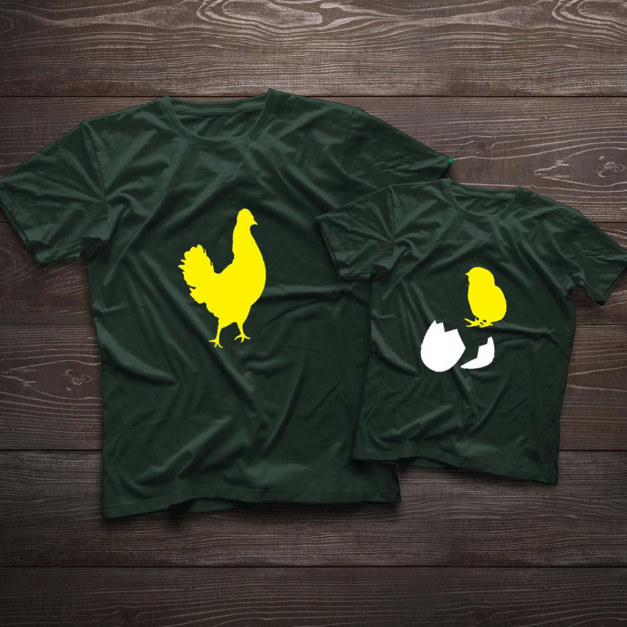 Парні футболочки ручного розпису «Яйце та курка»