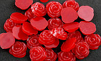 Полубусина (30 штук) роза красные Пластик 13мм (товар при заказе от 200 грн)