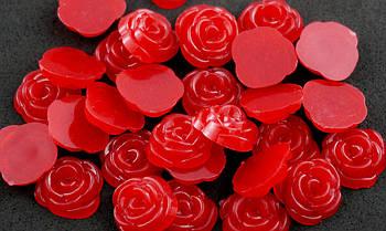Полубусина (30 штук) роза красные Пластик 13 мм