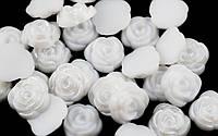 Полубусина (30 штук) роза белые Пластик 13мм (товар при заказе от 200 грн)