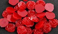 Полубусина (30 штук) роза красные Пластик 13мм