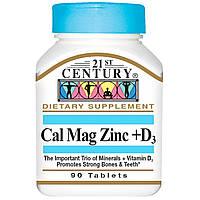 Кальций Магний Цинк + витамин D3, 21st Century, 90 таб. Сделано в США