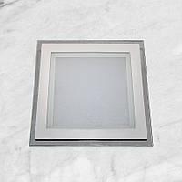 Светодиодный LED точечный врезной светильник 6W квадрат (стеклянный)
