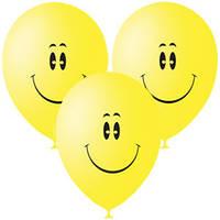 Качество! Праздничные Воздушные шары 12 дюймов/30 см Пастель (шелк.) YELLOW 1 ст. рис Смайл 100шт