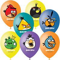 Качество! Шары на День Рождение 12 дюймов/30 см Пастель+Декоратор (шелк.) 1 ст. 3 цв. рис. Angry Birds 50шт