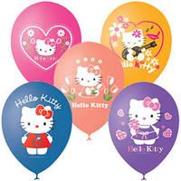Качество! Шарики воздушные 12 дюймов/30 см Пастель+Декоратор (шелк.) 1 ст. 3 цв. рис. Hello Kitty 50шт шар