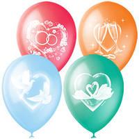 Качество! Воздушные шары 12 дюймов/30 см Пастель+Декоратор (растр.) спец. Ассорти 4 ст. рис 50шт