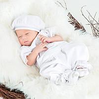 Крестильный костюм для мальчика Иванушка от Miminobaby от 0 до 3 месяцев, белый с серебряной  вышивкой