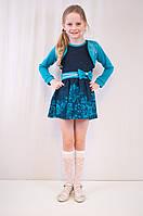 Красивое нарядное платье и болеро с модным принтом и стразиками.