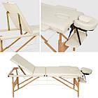 Масажний стіл дерев'яний 3-х сегментний складаний масажна кушетка для масажу, фото 5