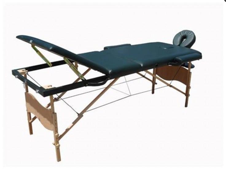 Массажный стол деревянный 3-х сегментный (Темно-зеленый)
