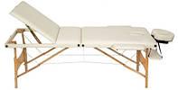 Массажный стол 3-х сегментный, кушетка деревянная, стол для массажа (Светло-бежевый)