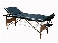 Массажный стол 3-х сегментный, кушетка деревянная, стол для массажа (Черный)