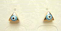 """Серьги XP Позолота Гвоздики """"Голубой Глазик на Треугольной Основе"""""""