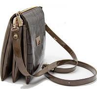 Клатч, сумка коричневый с лаковой вставкой