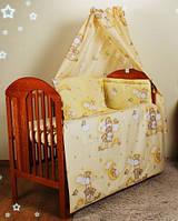 Бортики бампер защита для детской кроватки защитное ограждение 2 части- бежевые мишки на лестнице