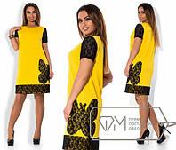 Платье женское с гипюровой бабочкой (3 расцветки) АКР/-1870 52-54, желтый