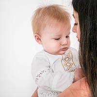 Крестильный костюм для мальчика Иванушка от Miminobaby от 6 до 12 месяцев, белый с золотой вышивкой