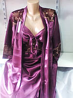 Женский нарядный батальный халат комплект