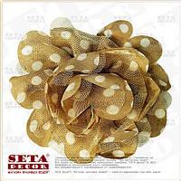 Брошь,заколка Цветок бежевая в белый горох (резинка на волосы) из ткани