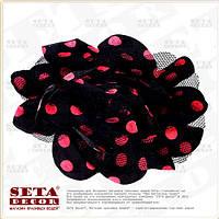 Брошь,заколка Цветок чёрная в малиновый горошек (резинка на волосы) из ткани