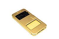 Кожаный чехол книжка для HTC One A9 золотистый