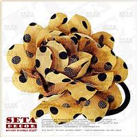 Брошь,заколка Цветок коричневая в чёрный горох  (резинка на волосы) из ткани