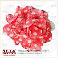 Брошь,заколка Цветок розовая в белый горох  (резинка на волосы) из ткани
