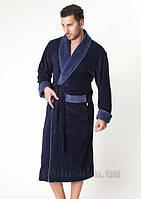 Халат мужской велюровый длинный без капюшона Nusa NS-1140-1 4XL серо-синий