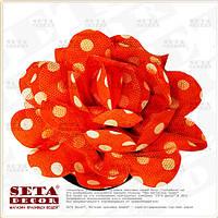 Брошь,заколка Цветок оранжевая в белый горошек  (резинка на волосы) из ткани