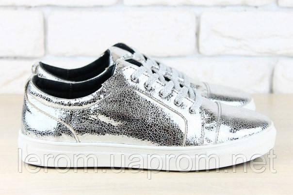 659df1b12 Стильные кожаные кеды кожа серебро, цена 996 грн., купить в Харькове ...